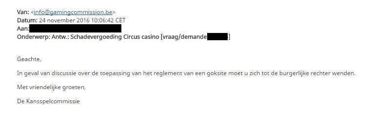 casino klacht- belgische kansspelcommissie